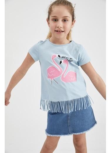 DeFacto Kız Çocuk Avokado Baskılı Kısa Kol Tişört Mavi